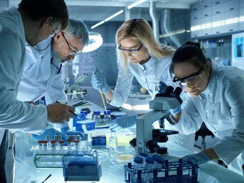 Equipo de investigadores trabajando colectivamente